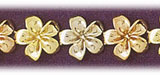 14k tri color gold plumeria flowers bracelet