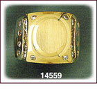 14K Gold Oval Men's CZ Signet Ring