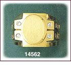 14Kt Gold Oval Mens CZ Signet Ring