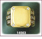 14Kt Gold Oval Men's CZ Signet Ring