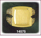 14Kt Gold Square CZ Signet Ring For Men