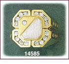 14Kt Two Tone Gold Square CZ Signet Ring