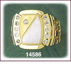 14K Two Tone Gold Rectangle CZ Signet Ring