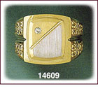 Men's 14Kt Two Tone Gold Rectangle CZ Signet Ring
