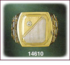 14K Two Tone Gold Rectangle CZ Signet Ring For Men