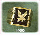 14K Gold Eagle Square Onyx Ring