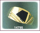 14K Gold Onyx Mens Ring