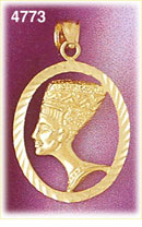 14k gold encircled egyptian queen nefertiti pendant