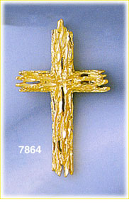 14k gold gold wood cross pendant