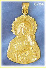 14k gold virgin mary holding christ as baby pendant