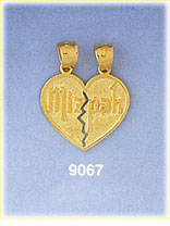 14k gold mizpah genesis 31:49 breakaway friendship heart charm