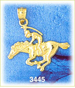 14k gold race horse & jockey charm