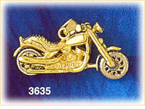 14k two tone gold 3d motorcycle charm
