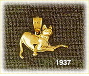 14k gold polished feline charm