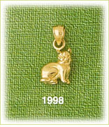 14k polished gold 3d cat charm