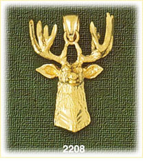 14k gold deer head charm