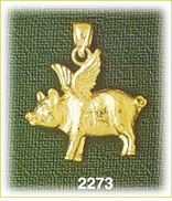 14k gold flying pig charm