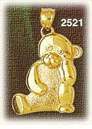 14k gold thinking teddy bear charm