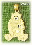 14k gold bear with cub charm