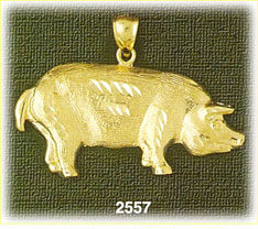 14k gold etched pig charm