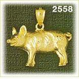 14k gold pig with curly tail charm