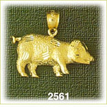 14k gold textured pig charm