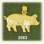 14k gold curly tail pig charm