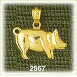 14k gold polished pot bellied pig charm