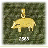 14k gold shiny pig charm