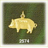 14k gold etched textured pig charm