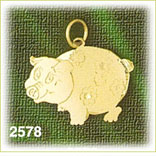 14k gold pig with flowers charm