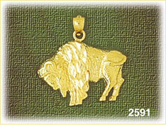 14k gold american bison charm