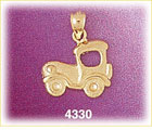 14k yellow gold early automobile charm
