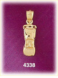 14k yellow gold convertible roadster car charm 3d
