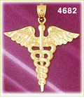 14k yellow gold caduceus medical charm