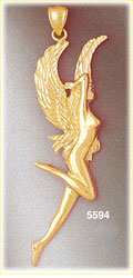 14k yellow gold winged woman fairy fantasy charm