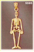 14K Yellow Gold Full Body Human Skeleton Charm