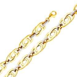 Exquisite 14K Two Tone Gold Fancy Light Ladies Chain Link Bracelet