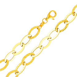 14k gold fancy cable chain link womens bracelet