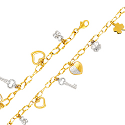 14k two tone gold link bracelet withteddy hearts key & clovers