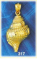 14k gold mollusk gastropod seashell pendant with diamond cut details