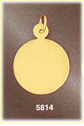 14Kt Gold Round Customizable Engravable Pendant