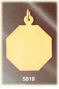 14K Solid Gold Engravable Octagon Pendant