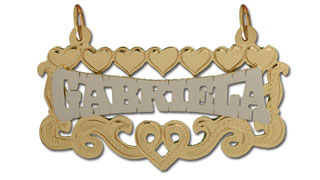 14K Gold Two Tone Personalized Nameplate with Diamond Cut Hearts Frame
