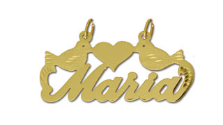 14k gold personalized designer love birds script nameplate