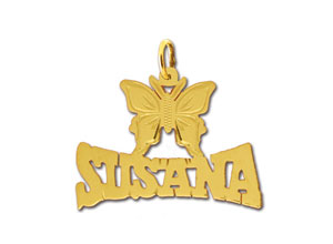 14k gold personalized designer butterfly nameplate