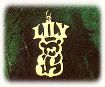 14k gold personalized teddy bear nameplate