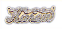 14k gold personalized double plate diamond nameplate
