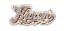 14kt gold personalized double plate diamond nameplate