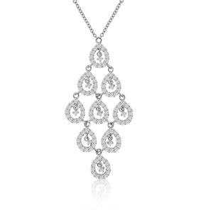sterling silver rhodium plated chandelier necklace w/cz
